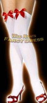 FANCY DRESS STOCKINGS # WHITE STOCKINGS - RED BOW